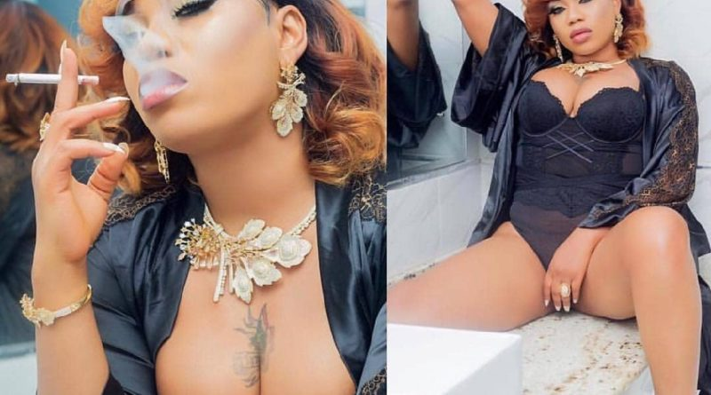 Toyin Lawani in black lingerie