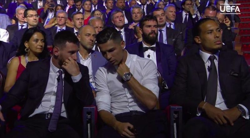Ronaldo and Messi Sit Next To Each Other in Champions League awards show