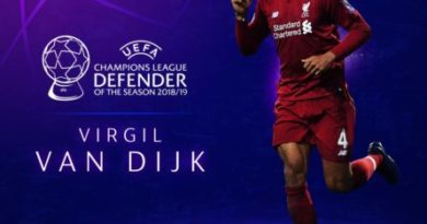 Van Dijk wins UEFA defender of the season