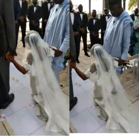 Bride walks out from wedding