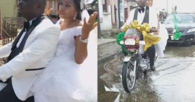 Nigerian couple ride bike home after their wedding in Port Harcourt (Photos)