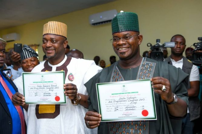 Yahaya Bello and his Deputy, Edward Onoja