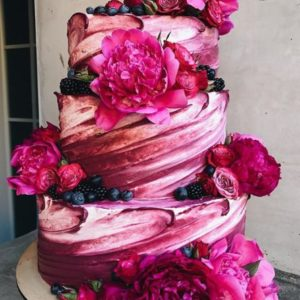 pink mix cake with blueberries
