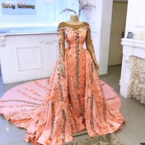 orange reception gown