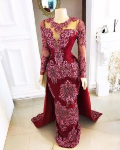 oxblood dinner gown