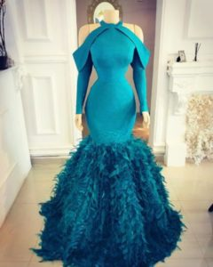 blue reception dress