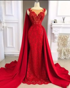red wedding reception dress