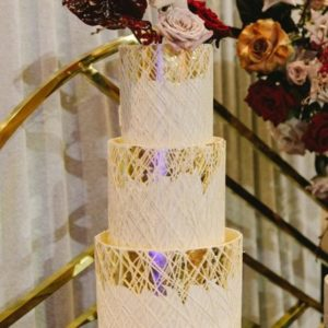 three tier gold wedding cake