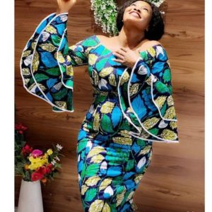 ankara gown with piped sleeves