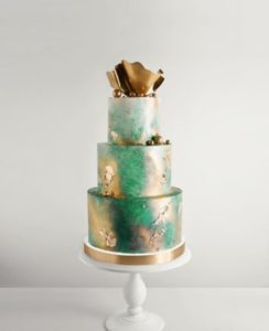 see green wedding cake