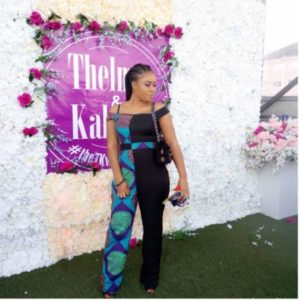 ankara and plain jumpsuit