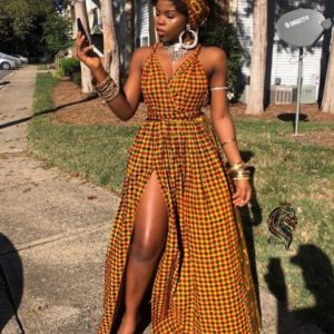 Ankara gown with slit