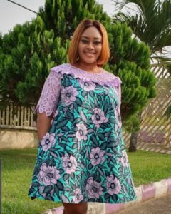 ankara and lace gown