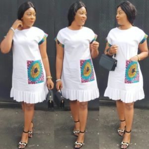 white plain and pattern ankara gown