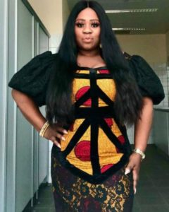 straight ankara gown with big sleeves
