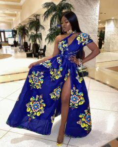long ankara gown with front slit
