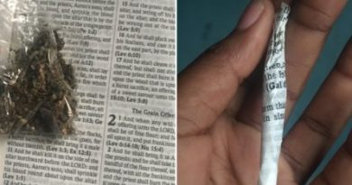 Nigerian lady uses bible as weed wrap