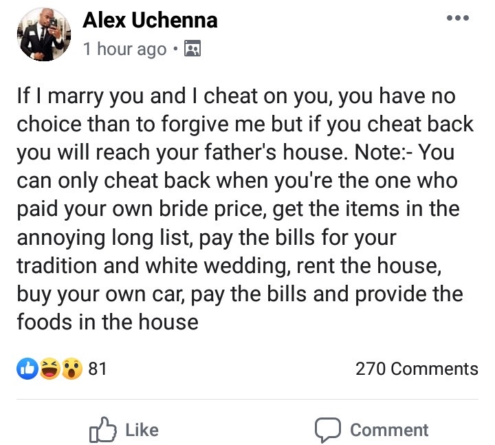 Nigerian man tells future wife why he can cheat but she can't