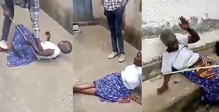 Man flogs his grandmother mercilessly because his pastor declared her a witch (Video)
