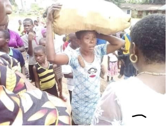 Woman Paraded After Being Caught Stealing Cassava In A Farm In Abia State